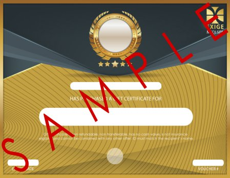Front of physical Gift Certificate